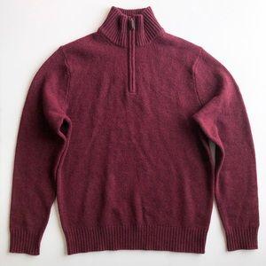 J.Crew Men's Maroon Quarter-Zip Sweater